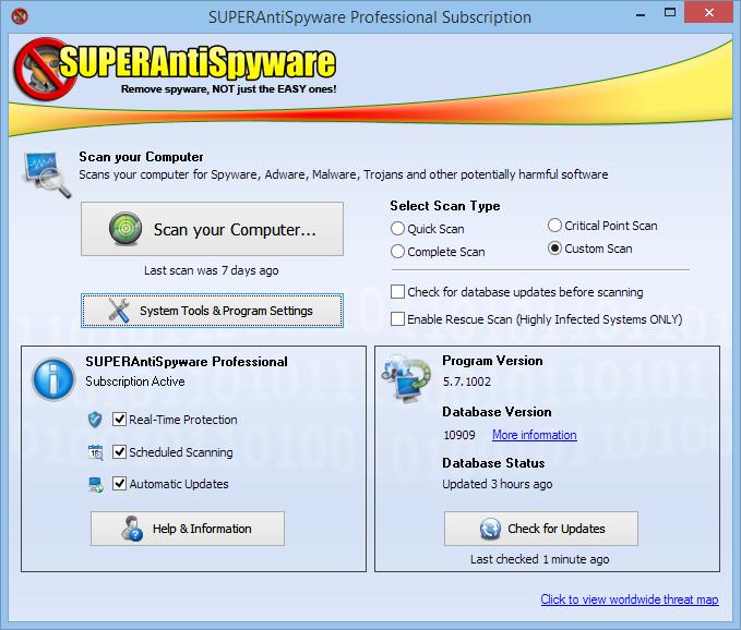 IMGSAS50 Main Large SUPERAntiSpyware Free Edition 5.7.1008   Diệt mã độc hiệu quả