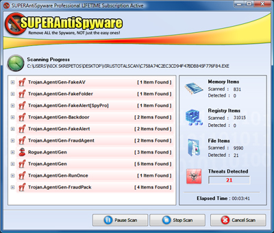 SUPERAntiSpyware 5.0 - Scanning