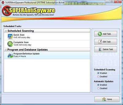 SUPERAntiSpyware 5.0 - Scheduler
