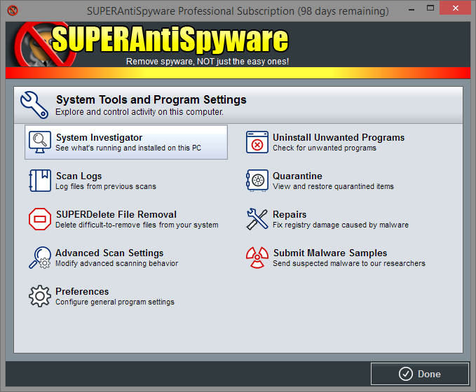 SUPERAntiSpyware System Tools and Program Settings