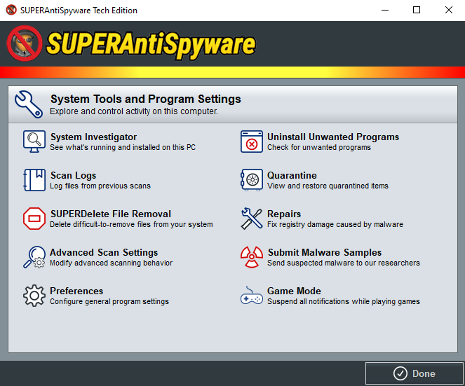 SUPERAntiSpyware Tech Edition System Tools and Program Settings