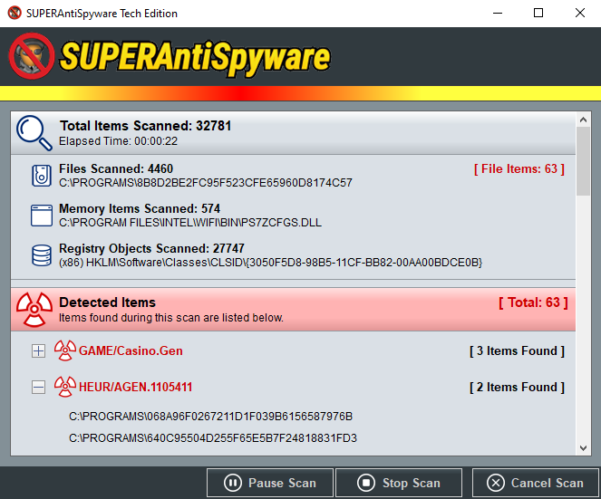 SUPERAntiSpyware Tech Edition Scanning Detail