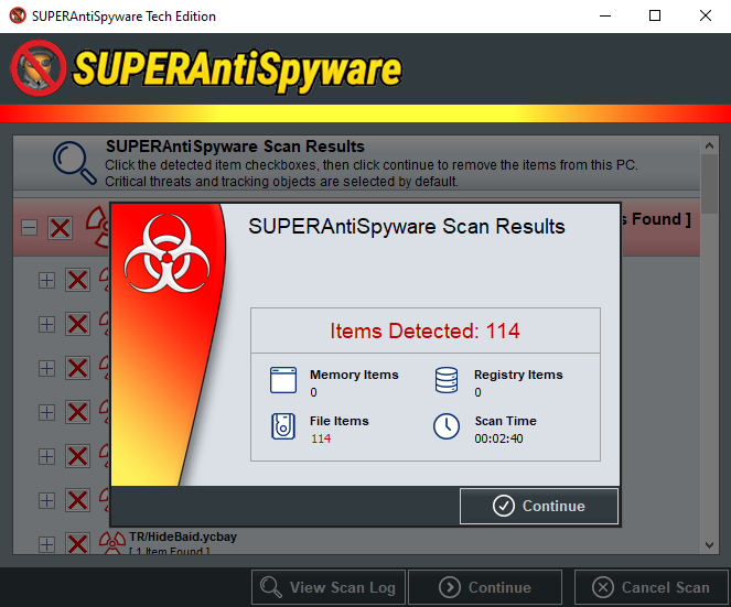 SUPERAntiSpyware Tech Edition Scan Results